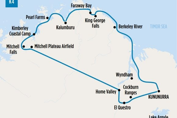 Map of our K4 Wandjina Kimberley Coastal tour